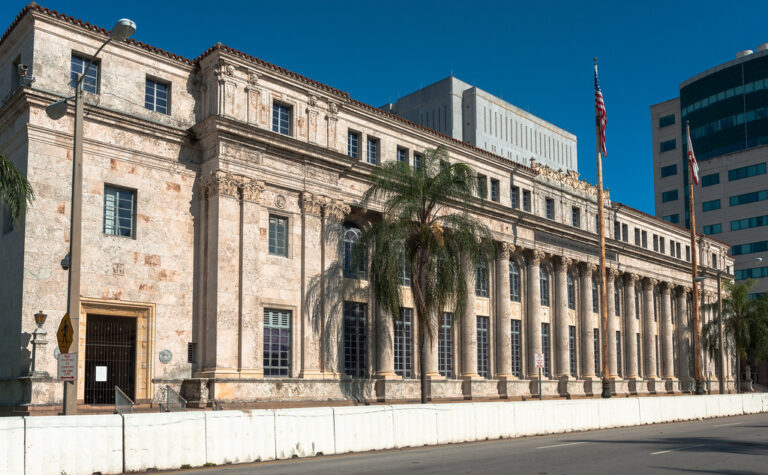 U.S. Post Office and Courthouse (1931-33), 300 Northeast 1st Avenue, Downtown, Miami, FL, USA • Mediterranean Revival design by http://en.wikipedia.org/wiki/Phineas_Paist Phineas P. Paist  (1873–1937), supervising architect for Coral Gables Corporation, &  Harold Drake Steward (1897-1989) • Paist designs include http://en.wikipedia.org/wiki/Douglas_Entrance Douglas Entrance and http://en.wikipedia.org/wiki/Venetian_Pool Venetian Pool, was also a http://www.jssgallery.org/other_artists/paist_phineas/Phineas_Paist.html skilled artist, working mainly in watercolors • after widespread destruction from 1926 hurricane, US government approriated over $2MM for new Miami courthouse, 1928 • building clad in http://en.wikipedia.org/wiki/Keystone_(limestone) keystone (limestone), quarried at Windley Key, largest such structure in S. FL  • now David W. Dyer Federal Building & United States Courthouse • National Register 83003518, 1983 • Downtown Miami Historic District, National Register 05001356, 2005